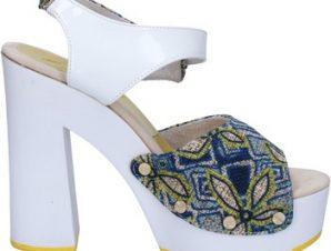 Σανδάλια Suky Brand sandali bianco tessuto blu vernice AC487