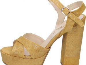 Σανδάλια Geneve Shoes sandali giallo tessuto BZ892