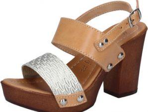 Σανδάλια Made In Italia sandali platino pelle marrone cuoio BY516