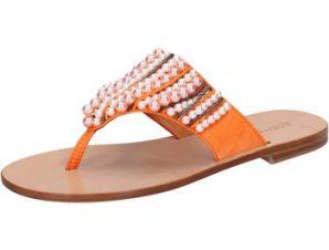 Σανδάλια Eddy Daniele sandali arancione tessuto perline aw243