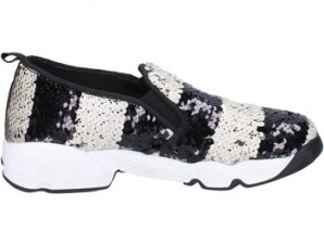 Slip on J. K. Acid slip on bianco paillettes nero BX744